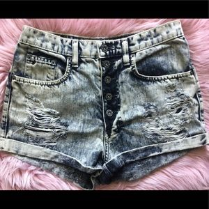 Distressed high waisted carmar shorts